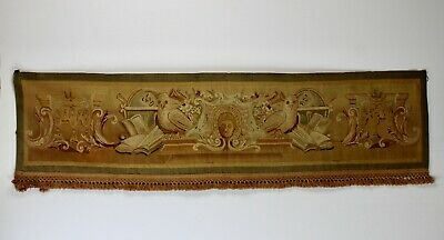 Antique Aubusson Library Tapestry Wall Hanging Books Owls Globes Lined Fringe