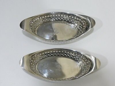 Antique Atkins Bros Sterling Silver Pair Of Oval Pierced Dishes, England