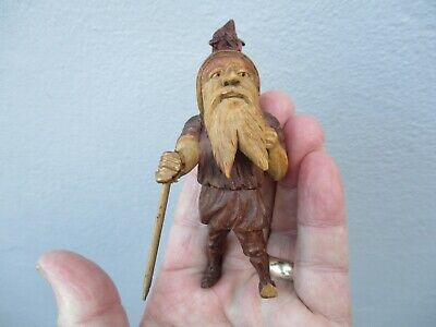 An Antique Carved Wooden Black Forest Figure of a Gnome c1900