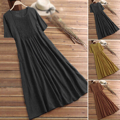 Womens Summer Beach Loose Casual Cotton+Linen Round-Neck Large Size Long Dress
