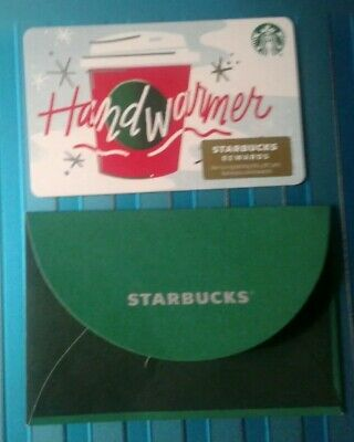 NEW Starbucks Hand Warmer GIFT CARD plus Sleeve, 2019, COLLECTIBLE MINT Recycled