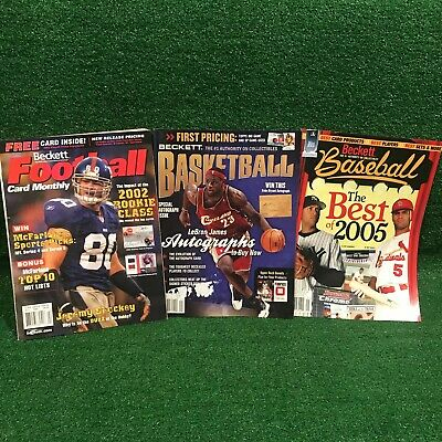 3 Beckett Basketball, Football, Baseball Card Collecting Price Guide Magazines