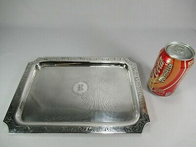 Gorgeous Meriden Britannia Sterling Silver Tray Chased Guilloche Decoration 540g
