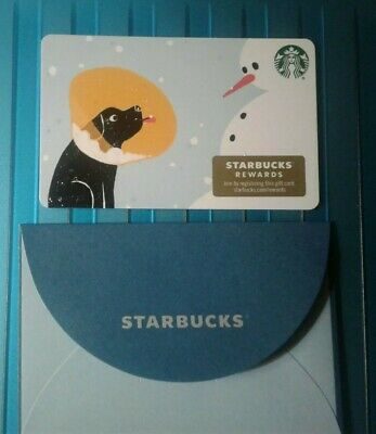 Starbucks Dog, Snowman GIFT CARD with Sleeve 2019 Christmas COLLECTIBLE Recycled