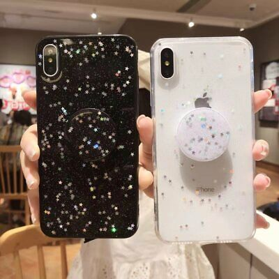 Glitter Case Soft TPU Case with Pop Up Socket Phone Holder For Galaxy A10 A50 70