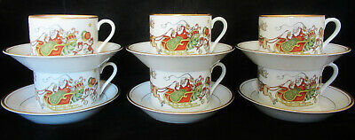Vintage Fitz and Floyd St. Nicholas Cup and Saucer Sets SIX