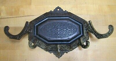 Antique 19c Decorative Arts Wall Bracket Hanger Hook Cast Iron Ornate Hardware