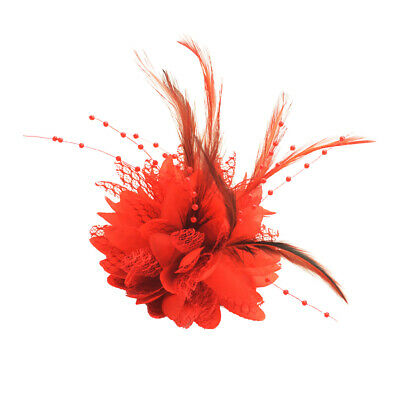 Flower Feather Pearls Corsage Hair Clip Women Wedding Party Brooch Hairpin