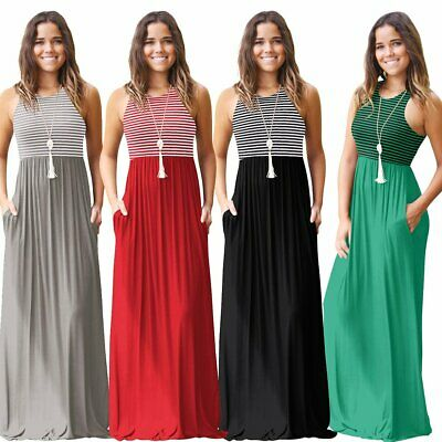 Women's Boho Plus Size Striped Strap Beach Dress Loose Sexy Maxi Dress AU Store