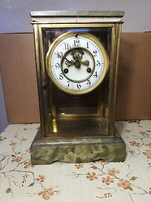 Antique1898 Waterbury  Clock  Co Glass And Marble Clock For Repair Or Parts