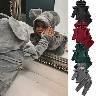 Winter Infant Baby Boy Girl Gold Velvet Hooded Top Pant Clothes Outfit Christmas