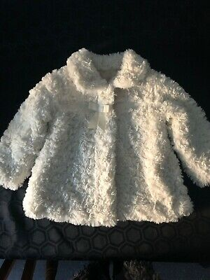 Girls Faux Fur Cream Coat 12/18 Months