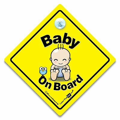 Baby On Board Sign Super Cutie in Blue Nappy Suction Cup Car Sign