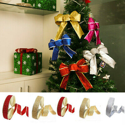 Christmas Glitter Ribbon Tree Decoration Tying Wreath DIY Gift Wrapping Crafts