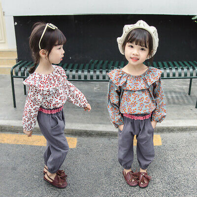 Children Girls Clothes Printed Ruffle Tops Long Pants Outfits Tracksuit Suit