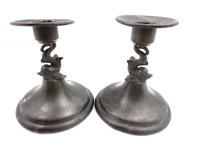 PEWTER BY RICE  Pair of Candlestick Holders Dolphin Fish Design  Nice PATINA Vtg