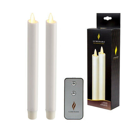 Luminara Flameless Moving Wick Remote Taper Candles LED White Wax with Timer