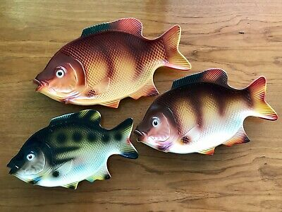Set of 3 Hoover 1960s plastic nesting fish plates serving platters 173 174 175
