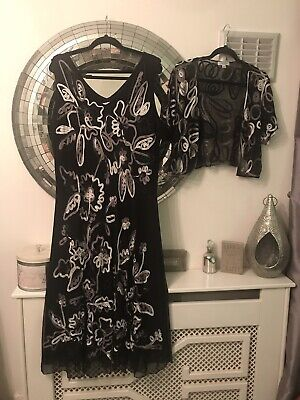 Two Piece Matching Outfit Dress And Jacket Size 24 - Mother Of Bride / Cruise