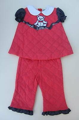 Vintage 60's girls red top and trousers quilted bear motif