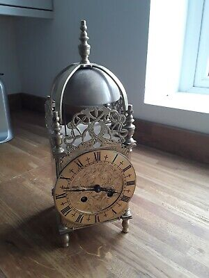Large French Gothic Style Brass 8 Day Bell Striking Clock C1860
