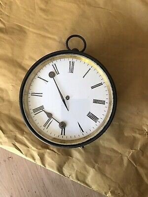 ANTIQUE OLD round brass case ships clock ? movement letter F 14 CM ACROSS