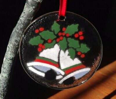 Peggy Karr - Signed | Christmas Bells - Holly | Fused Art Glass Ornament