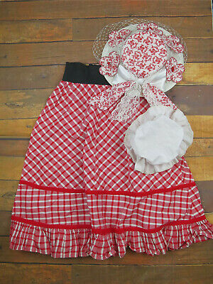 Victorian Style Red & White Skirt With Floral Hat & Mop Cap - Theatrical - UK 12