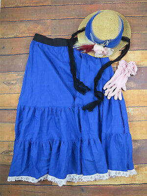 Victorian Christmas Market Style Outfit - Skirt/Straw Hat/Gloves UK 12/14