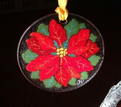 Peggy Karr - Signed | Christmas - Red Poinsettia | Fused Art Glass Ornament