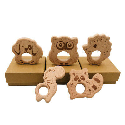 Wooden Animal Teether Teething Ring Natural Untreated Beech Wood Baby CH
