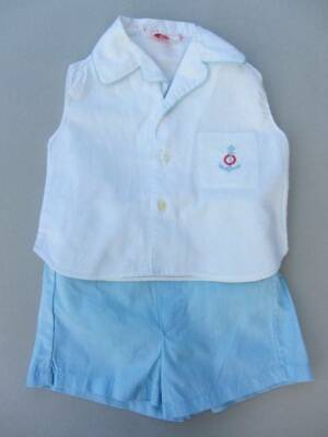 vintage boys summer shorts and top nautical blue white age 18 months rubber pant