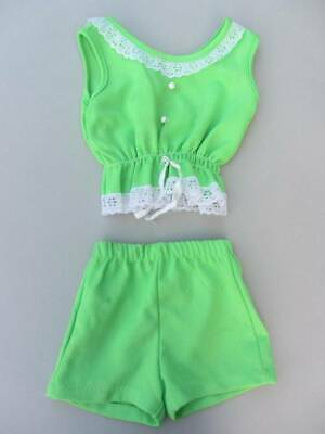 vintage girls lime green shorts and vest top lace age 2