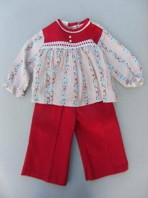 Vintage 60's girls red floral top and trousers new hippy age 18 months