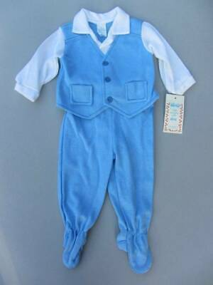 large doll baby outfit blue white with feet 13-18lbs new with tags boys vintage