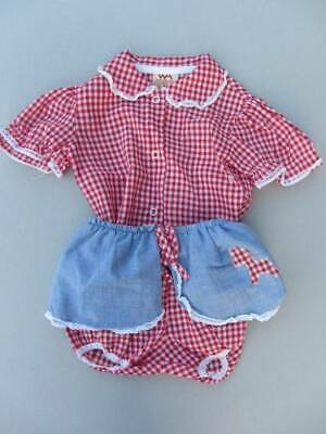 vintage girls western USA blouse and shorts 60's new red gingham 18 months cowgi