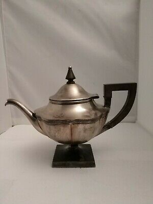 Antique Barbour Silver Co. 1892 Hartford CT. Wood Handle Silver Plated Teapot