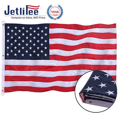 Jetlifee American Flag 8x12 Ft - by U.S. Veterans Owned Biz. Embroidered...