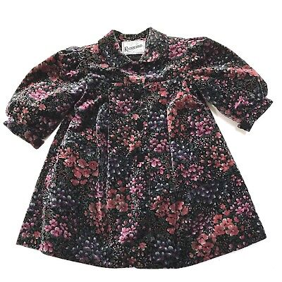 Rothschild Coat 2T Girl Velvet Dark Floral Victorian Holiday Toddler Union Tag