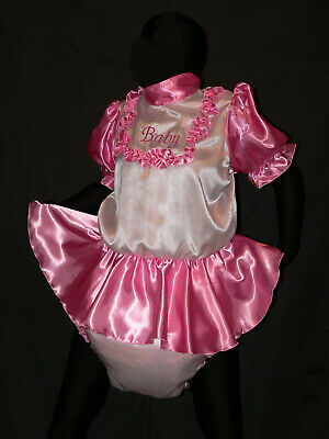 S13*Adult Baby Sissy SATIN dress with sewn in diaper panty*kleid & Spreizhose