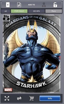 Topps Marvel Collect GUARDIANS OF THE GALAXY 3rd Printing Starhawk