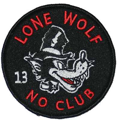 LONE WOLF NO CLUBS Fully Embroidered BIKER MC Motorcycle NEW Vest Patch PAT-1153
