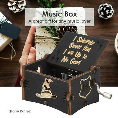 Vintage Wooden Hand Cranked Music Box Retro Home Ornaments Crafts Kids Xmas Gift