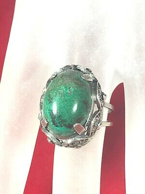 Vintage Chinese Export Sterling Silver Filigree Ring Turquoise Size 7 Adjustable