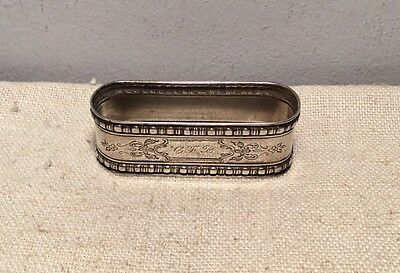 Antique Aesthetic Design Sterling Silver Elongated Napkin Ring