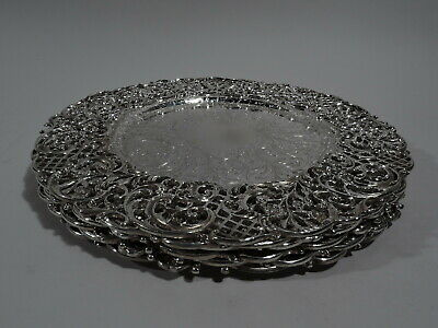 JE Caldwell Plates - C105 - Antique Dinner Chargers - American Sterling Silver