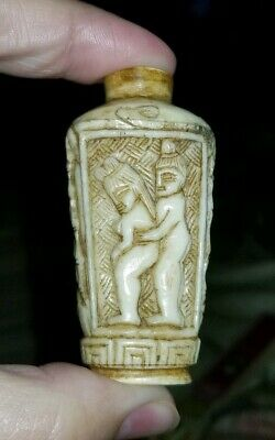 Antique Chinese snuff scent bottle carved erotica love nude