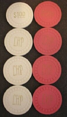 Lot of 8 LHP Casino Poker Chips:  4 $5.00 Chips and 4 $1.00 Chips