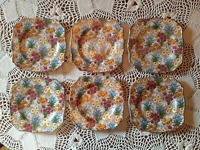 "Royal Winton Grimwades Marguerite Chintz 6"" Bread Plates Creamer Sugar 8 pcs"