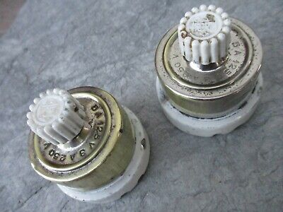 Vintage 1920 Pair Turn Switch Brass & Porcelain Light Electric Switches Button